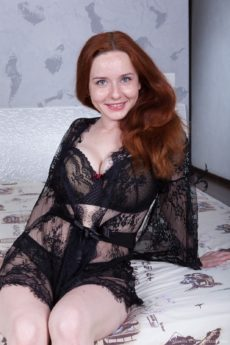 Alabaster skin redhead Elouisa has big beautiful breasts and a fiery cunt