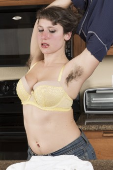 Big bottomed hairy babe Felicia F has very hairy armpits and hairy nipples