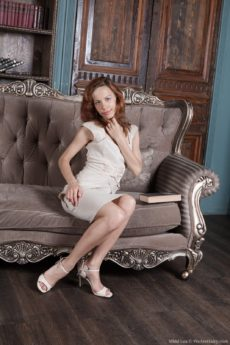 Unshaved redhead lovely Mimi Lea wears heels and shows her VERY hairy bush