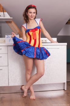 Cute hairy teen Vanata is dressed as Snow White until she strips down and opens her legs to reveal her fur forest