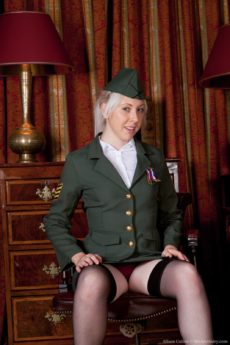 Alison Colins military uniform strip tease