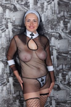 Luscious chubby redhead Animee in her see through lingerie fucking a fat dildo