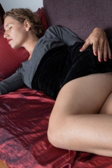 Sleeping hairy lady Bridgette Aleister awakens to spread her lips and masturbate