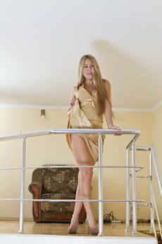 Hairy blonde girl Chloe B staircase strip tease