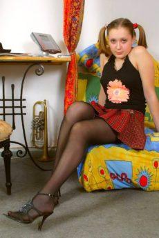 Evgenia T hides a hairy bush under her skirt