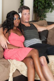 Hairy ebony girl Nina Devon fucks a white guy