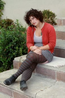 Dorky hairy girl Valerie strips and spreads on the stoop