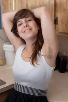 Hairy Nixi gets frisky in the kitchen