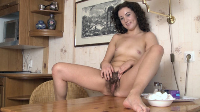 Brunette coed Laimites playing with her furry pussy