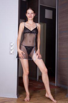 Milena teases her wet bush in lingerie