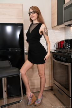 Sexy nerdy girl with tattoos Pearl Sage naked wearing only her glasses