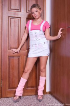 Sexy Snezha's short overalls