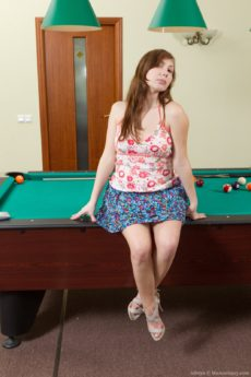 Brunette coed Silviya plays pool with her hairy pussy