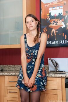 Lovely leggy Sophia wearing stockings in the kitchen