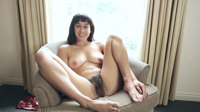 Fun loving hairy model Violet Russo gives a sexy naked interview