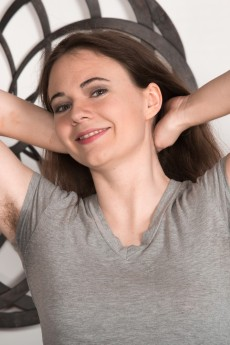 We Are Hairy amateur babe Camille shows off her hairy pits pussy and legs